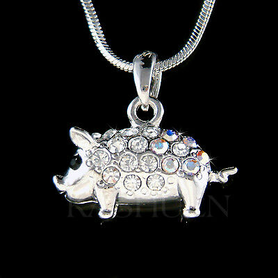 ~3D Two sided Cute Pig made with Swarovski crystal Piggy Piglet Necklace Jewelry