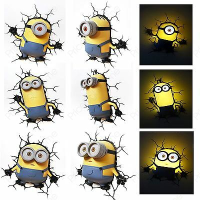 Minions 3D Led Wall Lights New Kids Bedroom Accessory 100% Official Free P+P