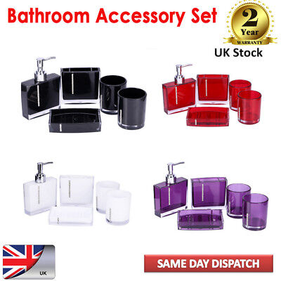 5pcs Bathroom Accessories Set Shower Soap Dispenser Toothbrush Holder Bottle UK