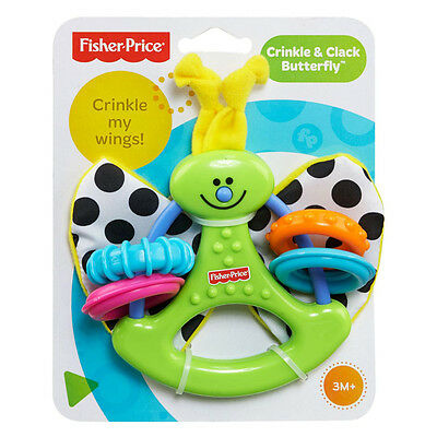 Fisher Price Crinkle & Clack Butterfly Baby Rattle Teether Official 3M+