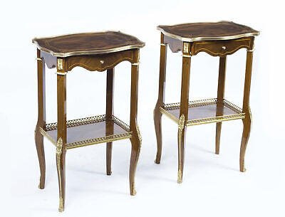 Pair Mahogany Occasional Tables Parquetry and Ormolu