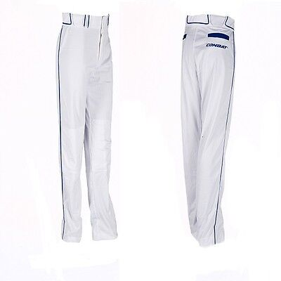 1Pair Combat Adult Large White / Navy Loose Fit Piped Pants Baseball & Softball