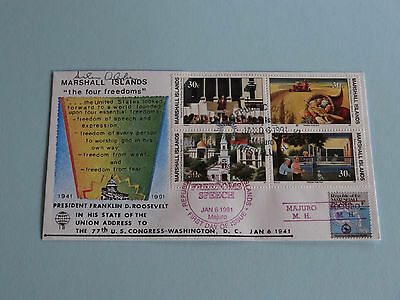 WWII FDC #18 * Roosevelt 4 Freedoms * Red Precancel * 50th Anniversary