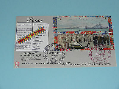 WWII FDC #100 VJ Day MacArthur Majuro MH #521-524 * 50th Anniversary