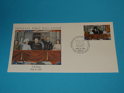 WWII FDC W95-4 Victory Europe Germany US Churchill * 50th Anniversary