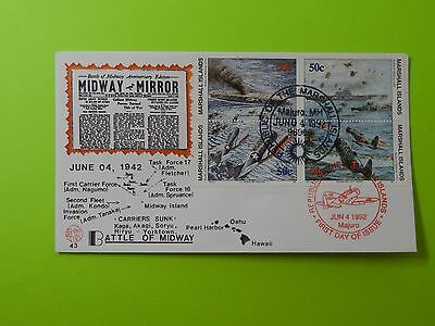 WWII FDC #43 Battle of Midway Atoll US Japan Admiral Yamamoto * 50th Anniversary