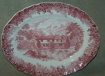"""Red Romantic England Meakin 12 1/8"""" Oval Platter"""