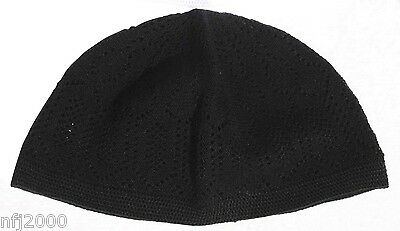 "Black Cotton Med. 22.5"" Turkish kufi Muslim Wear Topi Kofia Hat Skull Cap Takke"