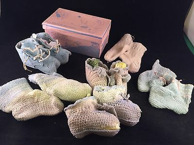 Lot Of 6 Pair Of Vintage Blue And White Baby Booties
