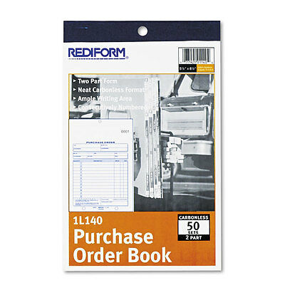 """Rediform Purchase Order Book, Bottom Punch, 2Part Carbonless, 50 Forms"""