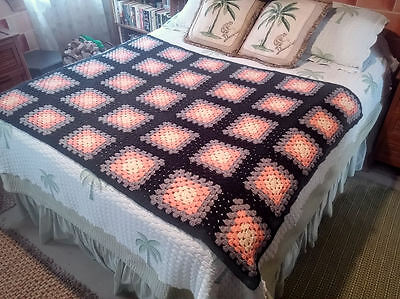 "Granny Square Afghan Blanket ~ 65"" x 48"" ~ Black / Orange / Gray / Yellow"