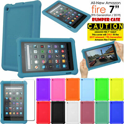 """for Amazon Fire 7"""" 2019 9th Generation Shockproof Soft Rugged Kids BUMPER Case"""