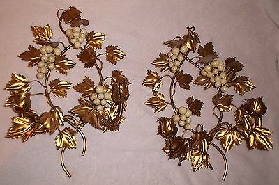 Pair Vintage Italy Wall Sculpture Grape/Leaves Wall Candle Sconces Holders Tole