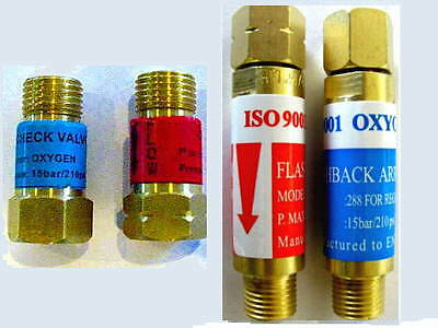 Oxygen/Acetylene FLASHBACK ARRESTOR & CHECK VALVE Sets: Torch Welding, Cutting,