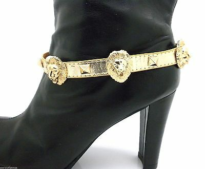 "New Gold Lion Bracelet or Boot Strap Shoe Chain Faux Leather Women 14""-15"""