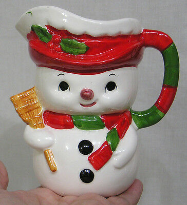 Vintage Christmas Relpo Figural Snowman Pitcher Red Green Holds Broom NICE!!