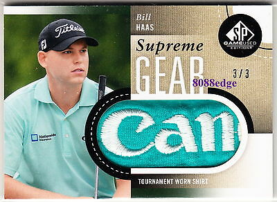 """2013 Sp Game-Used Supreme Gear: Bill Haas #3/3 Pga Worn Shirt Logo Patch """"canon"""""""