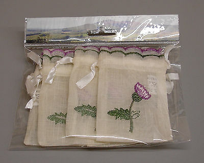 12 Packs of 6 New Thistle Embroidered Scottish Wedding Favour Bags ZC30
