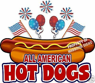 "All American Hot Dogs 14"" Decal Concession Food Truck Hotdog Cart Vinyl Sticker"