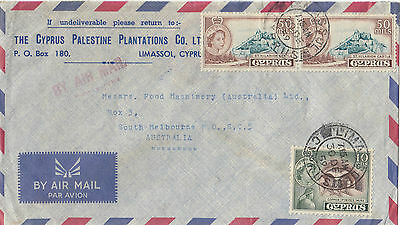 Stamps Cyprus on Cyprus Palestine Plantations Co cover airmail to Australia