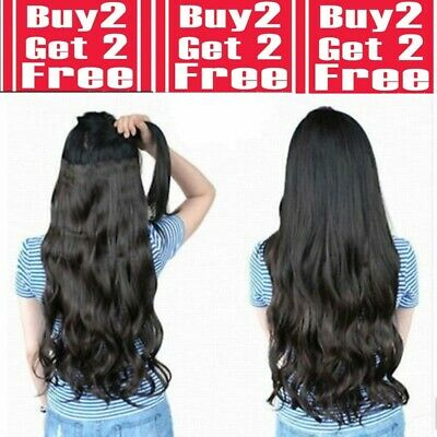 28 inch clip in hair extensions One piece 5 Clips 3/4 Full Head feels like real