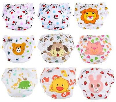 5PCS Diaper + Inserts Lovely printing Adjustable Baby Washable Cloth Nappies