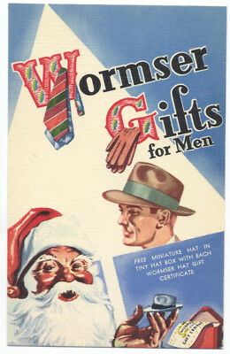 WORMSER GIFTS For MEN with SANTA - TIES, GLOVES, HATS ca1940 LINEN Ad