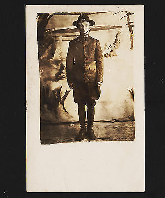 Early Boy Scouts of America RPPC Scout posing in uniform Unused