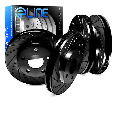 530i Rear Black Drill Slot Brake Rotors+Ceramic Pads Fit 2004-2007 BMW 525i