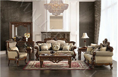 Traditional Victorian Carved Chenille Fabric Sofa Set-Sofa-Loveseat-Chair
