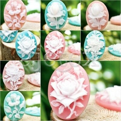 DIY Resin Flowers Oval Cabochons flatback wholesale 4pcs vintage cameo for rings
