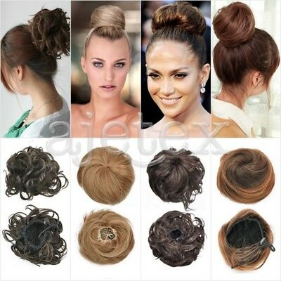 Women Girl Clip-on Dish Hair Bun Tray Ponytail Extension Hairpiece Scrunchie