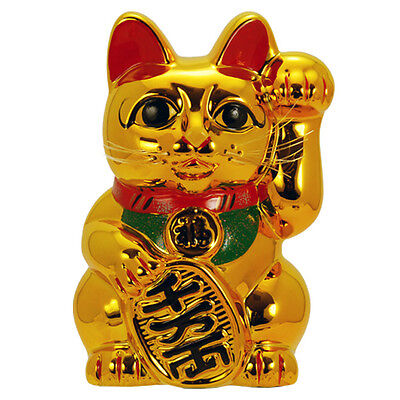 "Japanese Welcome 10"" Tall Golden Lucky Forturn Ceramic Maneki Neko Cat/Coin Bank"