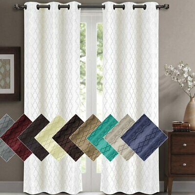 Willow Jacquard Blackout Thermal Insulated Window Curtain Panels Pair (Set of 2)