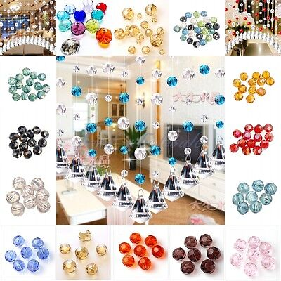 30Pcs Fat Round Faceted Glass Rondelle Czech Crystal Charms Spacer Beads 6x6mm