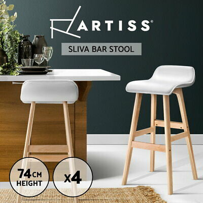 4x Wooden Bar Stools Kitchen Barstool Dining Chairs Leather Foam White 1568