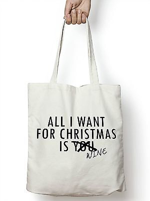 All I Want For Christmas Is Wine Shopper Tote Bag Funny Joke Novelty Present M65