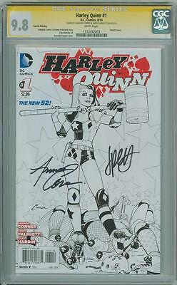Harley Quinn #1 Sketch Variant Cgc 9.8 Signature Series Signed Conner Palmiotti