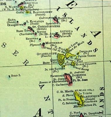 Rand Mcnally Commercial Atlas West Indies Caribbean Map Plate Page 1911 Vintage