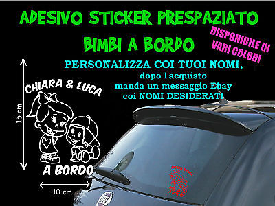 Sticker Stickers Adesivi Adesivo Bimbi Bimbo Coppia Fratelli A Bordo On Board 3V