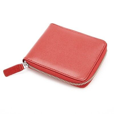 Royce Leather Red RFID Blocking Zip Around Wallet in Italian Saffiano Leather