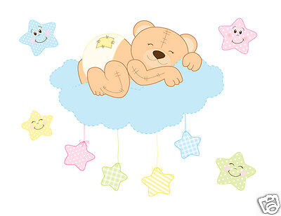 Teddy Bear Mural Wall Decals Baby Neutral Woodland Animals Nursery Art Stickers