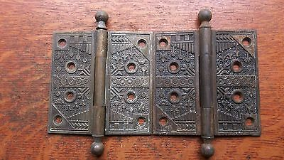 "Two Antique Victorian Cast Iron & Brass Door Hinges 4.5"" ""Windsor"" Reading"