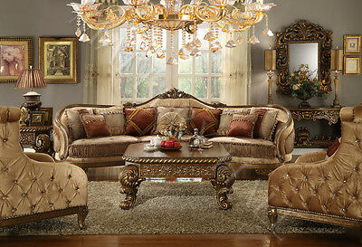 Hand Carved Tufted Upholstered Sectional Sofa Set--Sectional and Two Chairs