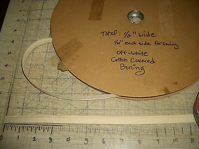 "1 Yard 1/2""W Bone Bra Corset Making Off White Cotton Covered Boning Encased VTG"