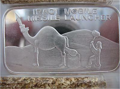 1 Oz.999 Pure Silver Iraqi Mobile Missile Launcher International Trade Unit+Gold