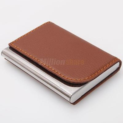 20 Bits Business Horizontal Design Card Holder with New Metal Cardcase Leather
