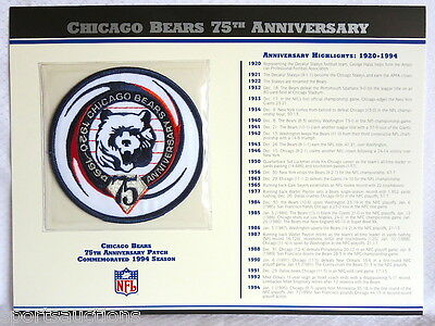 CHICAGO BEARS ~ 75th ANNIVERSARY NFL PATCH STAT CARD Willabee & Ward 1994 SEASON
