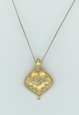 Gold Over  Sterling Silver Vintage Tibetan Pendant On G.f. Chain  7238