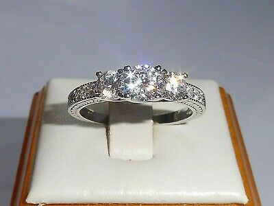 Ladies Hallmarked Sterling 925 Solid Silver 3 Stone White Sapphire Eternity Ring
